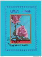 Ajman 1972 Roses Rosa Foglietto Imperf. - Ajman