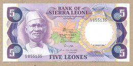 SIERRA LEONE  5 Leones 1984 P7f  UNC - Sierra Leone