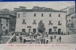 ACCUMOLI RIETI - PIAZZA UMBERTO I GIA' S.FRANCESCO - PALAZZO E NEGOZI MARINI G.BATTISTA 1907  - CARTOLINA DI 111 ANNI!!! - Rieti