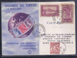 Carte Federale  Journee Du Timbre 1939 Bone Taxe - Algérie (1924-1962)
