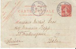 Cachet Provisoire D'Alsace Lorraine WESSERLING ALSACE - Postmark Collection (Covers)