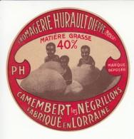 Etiquette De Fromage Camembert - Les Négrillons - Hurault - Dieppe - Meuse. - Cheese