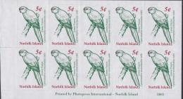 NORFOLK ISLAND 2001 Green Parrot Sc 719a Mint Booklet - Norfolk Island