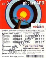 """TARJETA TELEFONICA DE LIECHTENSTEIN (1631 PREPAGO TIRADA 20000, 09/2003) (002) PROMOCIONAL, REVERSO """"NOT FOR SALE"""" - Liechtenstein"""