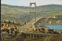 TURCHIA- ISTAMBUL - PONTE SUL BOSFORO  -VIAGGIATA  FRANCOBOLLO ASPORTATO - Turchia