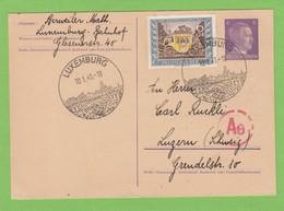"""GANZSACHE MIT ZUSATZFRANKATUR """"TAG DER BRIEFMARKE"""" NACH LUZERN MIT ZENSURSTEMPEL. - 1940-1944 Deutsche Besatzung"""
