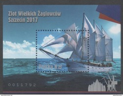 POLAND , 2017, MNH, SHIPS, SALING SHIPS, RALLY OF SAILING SHIPS ,S/SHEET - Ships