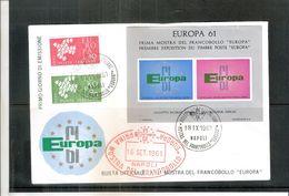Europa 1961 Sur FDC D'Italie Avec Bloc Souvenir Officiel (à Voir) - 1961