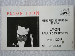 Ancien Ticket De Concert ELTON JOHN Mercredi 12 Mars 1986 à LYON Palais Des Sports - Tickets D'entrée