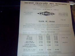 Facture Lettre  A Entete  Plomb De Chasse Societe Francaise Des Munitions  Gevelot  A Paris Rue Ampere Annee 1949 - France