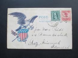 USA / Cuba 1907 Patriotic Cover / Leporello Mit Ansichten! Gesendet Nach Graz Österreich! Indianer / Friedenspfeife. RRR - Briefe U. Dokumente