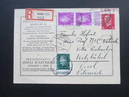 DR 1930 Postkarte / Einschreiben Berlin 110 964. Hotel Excelsior. Reichspräsidenten Oberrand / Unterrand! Stempel: Hotel - Deutschland