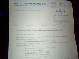 Facture Lettre  A Entete  Metzger Weyler & Co. A Ensdorf Allemagne Porcelaine Ceramique Cristaux..annee 1966 - Germany