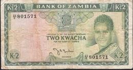 ZAMBIA P6 2 KWACHA 1968 Signature 2 FINE Folds,only 2 P.h ! - Zambia