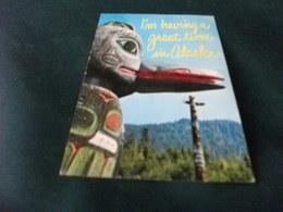 TOTEM ANCHORAGE ALASKA 1971 IìM HAVING A GREAT TIME IN ALASKA U.S.A.  VIA AIR MAIL - Indiani Dell'America Del Nord