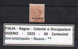 Italia - Regno - Colonie E Possedimenti - SASENO - 1923 - 30 Centesimi - Sovrastampato - Nuovo - ** - (FDC8956) - Saseno