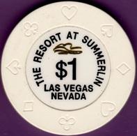 $1 Casino Chip. Resort At Summerlin, Las Vegas, NV. B87. - Casino