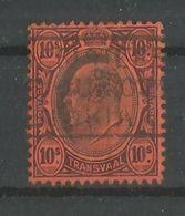 Transvaal 1902 - King Edward VII 10 Shilling Violett Schwarz Auf Rot Gestempelt - África Del Sur (...-1961)