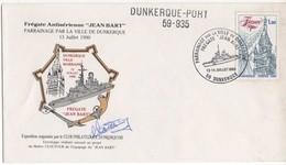 ENVELOPPE SOUVENIR PHILATELIQUE FREGATE JEAN BART - 13 & 14/07/90 DUNKERQUE - CACHET MARITIME DUNKERQUE PORT - Militaria