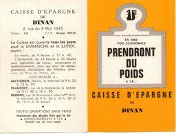 DINAN - Caisse D'Epargne  - Petit Calendrier Publicitaire 1969 - - Calendriers