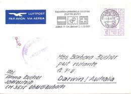 Airmail Brief  Biel - Darwin  (ATM-Frankatur)         1981 - Svizzera