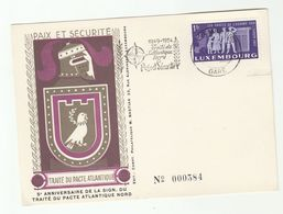 1954 LUXEMBOURG NATO EVENT COVER Card Slogan Stamps Peace European Human Rights - Luxembourg