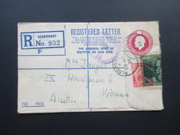 GB 1928 Registered Letter Aldershot No. 932 Nach Wien. Zusatzfrankatur Mit Vignette überklebt Kinderhilswerk Grado - 1902-1951 (Könige)
