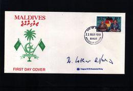 Maldives 1991 Deutsche Einheit Interessanten FDC Mit Original Autogramme Von Dr. Lothar De Maziere - Cartas