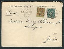 FRANCE N° 75 & 96 Obl. S/Lettre Pour La Suisse - 1876-1898 Sage (Type II)