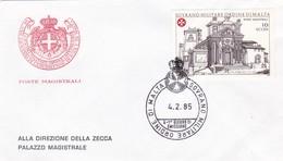 SOVRANO MILITARE ORDINE DI MALTA  FDC G. BATTISTA PIRANESI E LA CHIESA DI SANTA MARIA ALL' AVENTINO 1985 - Malte (Ordre De)