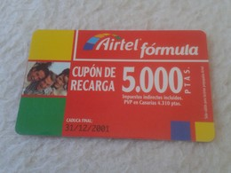 TARJETA TELEFÓNICA CUPÓN DE RECARGA PHONE CARD AIRTEL FÓRMULA 5.000 PESETAS CADUCIDAD 31-12-2001 ESPAÑA SPAIN VER FOTO/S - Spagna