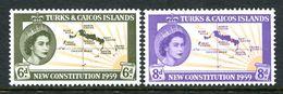 Turks & Caicos Islands 1959 New Constitution Set MNH (SG 251-52) - Turks- En Caicoseilanden