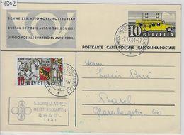 1937 Automobil-Postbureau 144 - Stempel: 5. Schweiz. Armee-Meisterschaften Basel 1941 5.IX. - Stamped Stationery