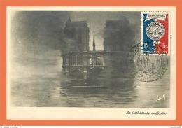 A597 / 267 PARIS La Cathedrale Engloutie  Cachet Musée Postal 1951 ( Timbre ) - France