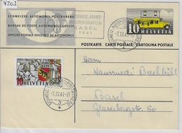 1937 Automobil-Postbureau 144 - Stempel: 5. Schweiz. Armee-Meisterschaften Basel 1941 5.IX. Mit Vignette - Stamped Stationery
