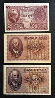 5 LIRE IMPERO 1940  FDS + 1944 Spl + Luogotenenza Bolaffi Cavallaro Fds LOTTO 463 - Italia – 1 Lira