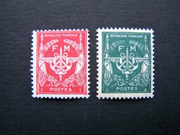 FRANCE TIMBRE DE FRANCHISE MILITAIRE 1946/1948 NEUF ** ADHERENCES N°11 Et 12a - Franchise Militaire (timbres)