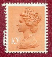 Great Britain GB 1971 - 1996 10p Orange Machin Used - Machin-Ausgaben