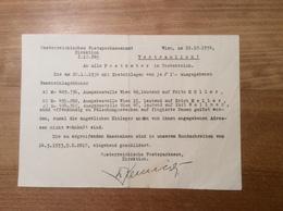 Österreich 1934 Postformular Vertraulich FÄLSCHUNGEN POSTSPARBÜCHER  (Wien Langenegg Vorarlberg BRIEF - 1918-1945 1. Republik