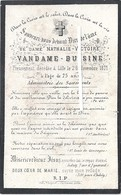 Image Mortuaire - Lomme - Lille - BUISINE Nathalie Victoire (épouse VANDAME Louis Auguste) - Décès