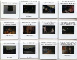 CEA NUCLEAIRE  / 12 DIAPOSITIVES  DE PRESSE  Et  PHOTO ARCUEIL  Centrales Nucléaires   Site D'arcueil Et Aubervilliers - Lieux