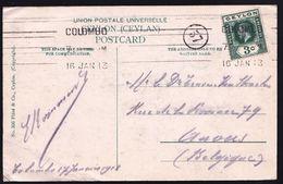 VERY RARE MECHANICAL LINE CANCEL ** COLOMBO 1913 ** ON GEORGE V - CEYLON TO ANTWERP - Ceylon (...-1947)