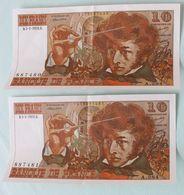 2 Billets De 10 Francs Berlioz 5.1.1976 Numéros Qui Se Suivent - 1962-1997 ''Francs''