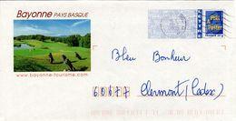 FRANCE - BAYONNE PAYS BASQUE   2008 POSTMARK  GOLFING  FDC4399 - Entiers Postaux