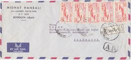 LEBANON 1959 REG.COMMERC.COVER FRANKING BEYROUTH TO GERMANY - Liban
