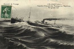 "Souvenir De Voyage ""EL KANTARA"" Paquebot Des Messageries Maritimes Par Grosse Mer RV - Paquebots"