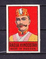 Schweden, Zuendholzschachteletikett, Radja Hindostan (48995) - Zündholzschachteletiketten
