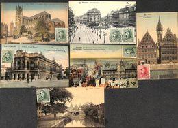 Lot 6 Cartes - Roi Casqué Anvers Gand Bruxelles (colorisée) - Belgio