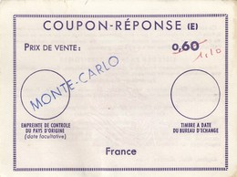 REPLY COUPON REPONSE.  0.60/1.10  MONTE-CARLO   /  12 - Antwortscheine