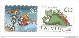 2011 Latvia Lettland CHRISTMAS Stamp  Set SANTA + DINO + Reindeer USED (0) FULL SET - Latvia